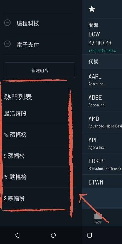 圖片示範Firstrade手機APP使用心得-熱門列表